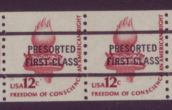 USA #1816c 12¢ Freedom of Conscious Coil Precancel Pair Mnh