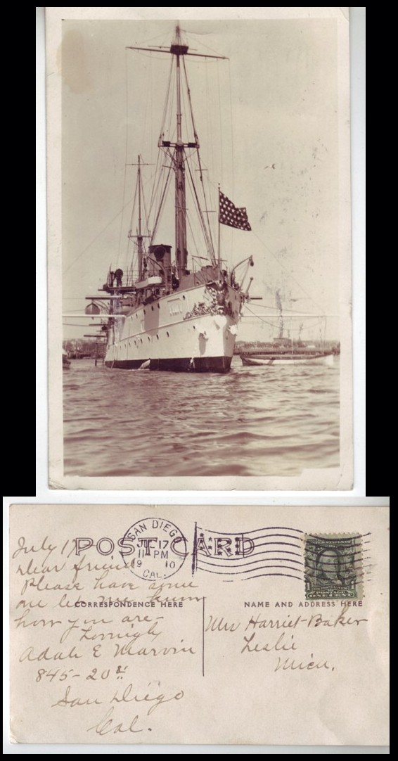 USA 1910 War Cruiser Real Photo RPPC Ship Used from San Diego CA