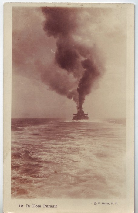 USA c1910 In Close Pursuit Ship RPPC Real Photo War Time PC