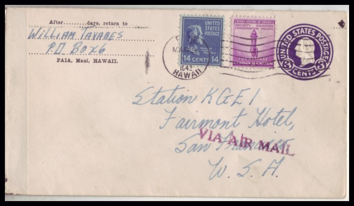 United States 1942 Hawaii to San Francisco Censored Prexie Cover