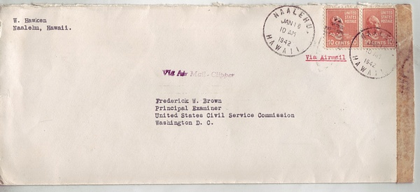 Hawaii 1942 Censored 20c (2x 10c Prexies) Airmail Cover Clipper