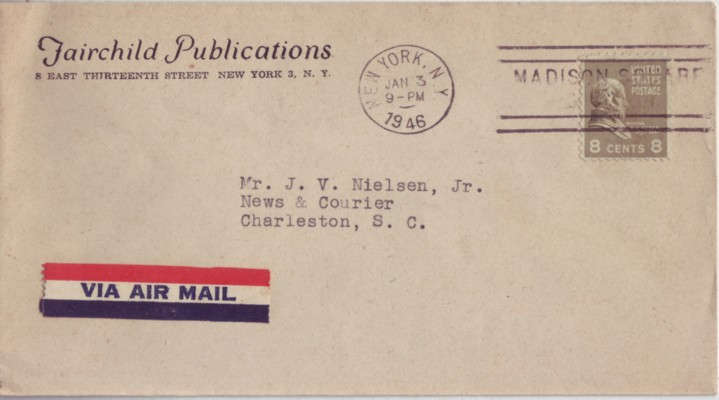 USA 1946 #813 8c Prexie Solo Use Continental Airmail NY to SC #6