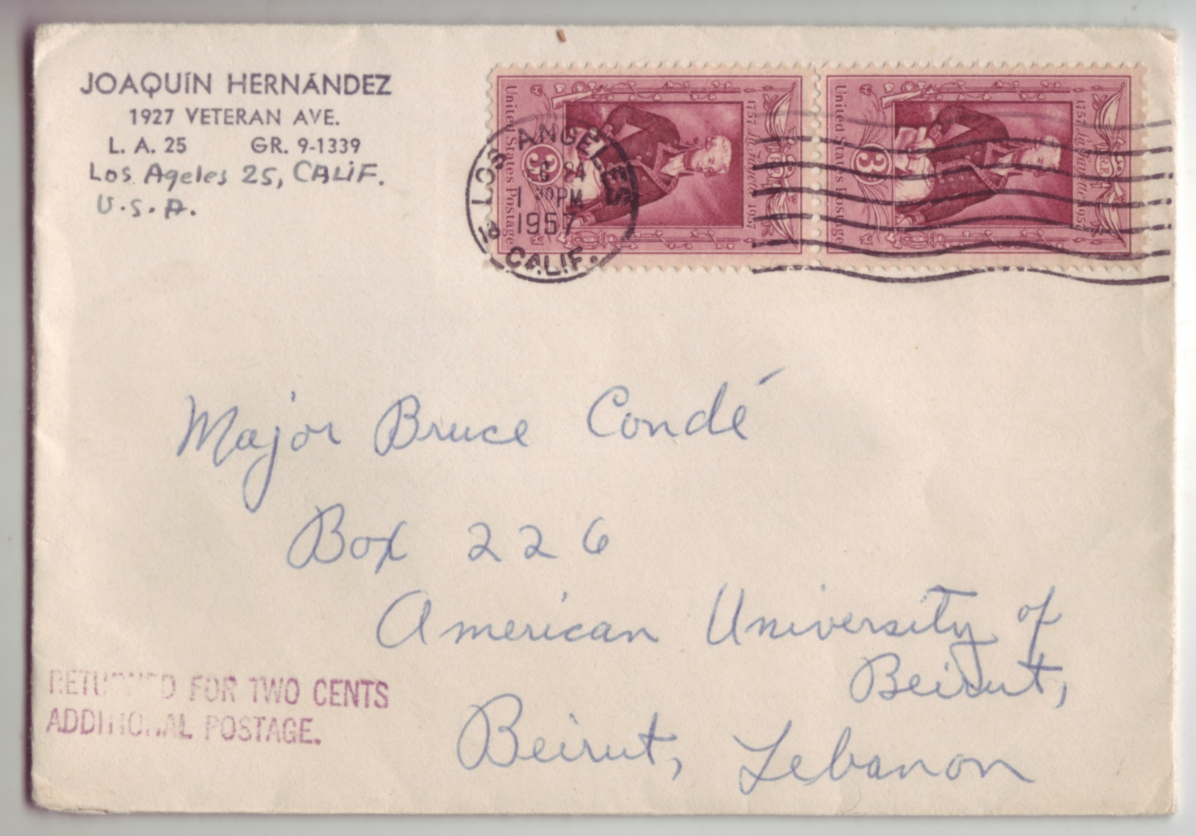 USA 1957 #1097 3c Lafayette pair to Lebanon RTS for 2c Due