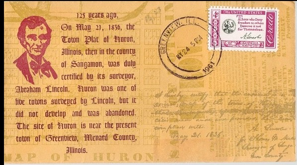 1836 - 1961 Young Abraham Lincoln Surveys Huron Illinois Multi C
