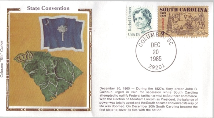 "1860 - 1985 Dec 20 South Carolina State Convetion Colorano ""Sil"