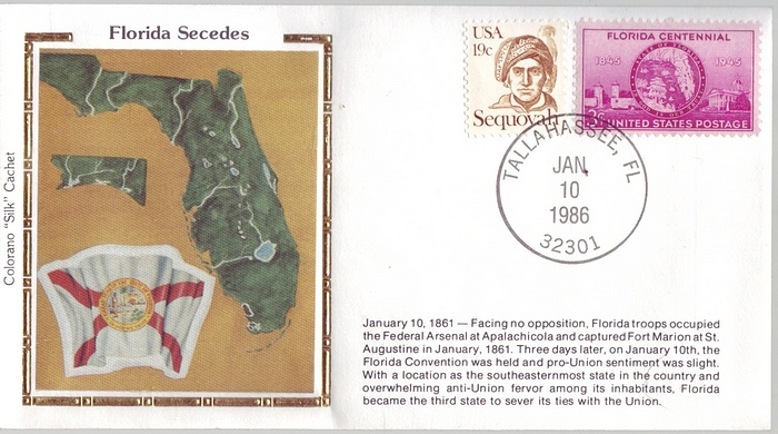 "1861 - 1986 Civil War Jan 10th Florida Secedes Colorano ""Silk"""