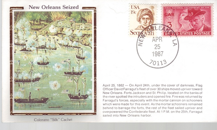 1862 - 1987 Civil War April 25th New Orleans Seized Ships Color