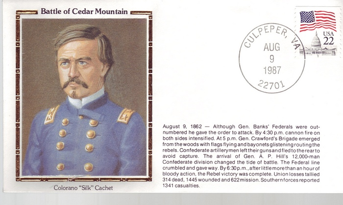 1862 - 1987 Civil War Aug 9th Battle of Cedar Mountain Culpeper