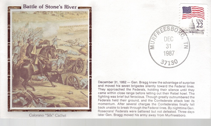 1862 - 1987 Civil War Dec 31th Battle of Stone's River Colorano