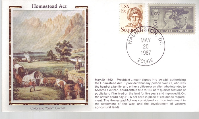 1862 - 1987 Civil War May 20th Homestead Act Suffolk Covered W