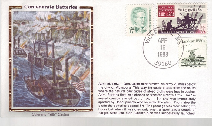 1863 - 1988 Civil War April 16th Confederate Batteries Ships F
