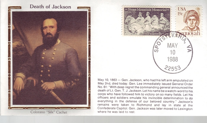 1863 - 1988 Civil War May 10th Death of General Jackson Unifor