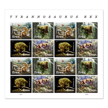 United States 2019 T. Rex Dinosaurs 4v 3-D Stamps Full Panes 16v - Click Image to Close