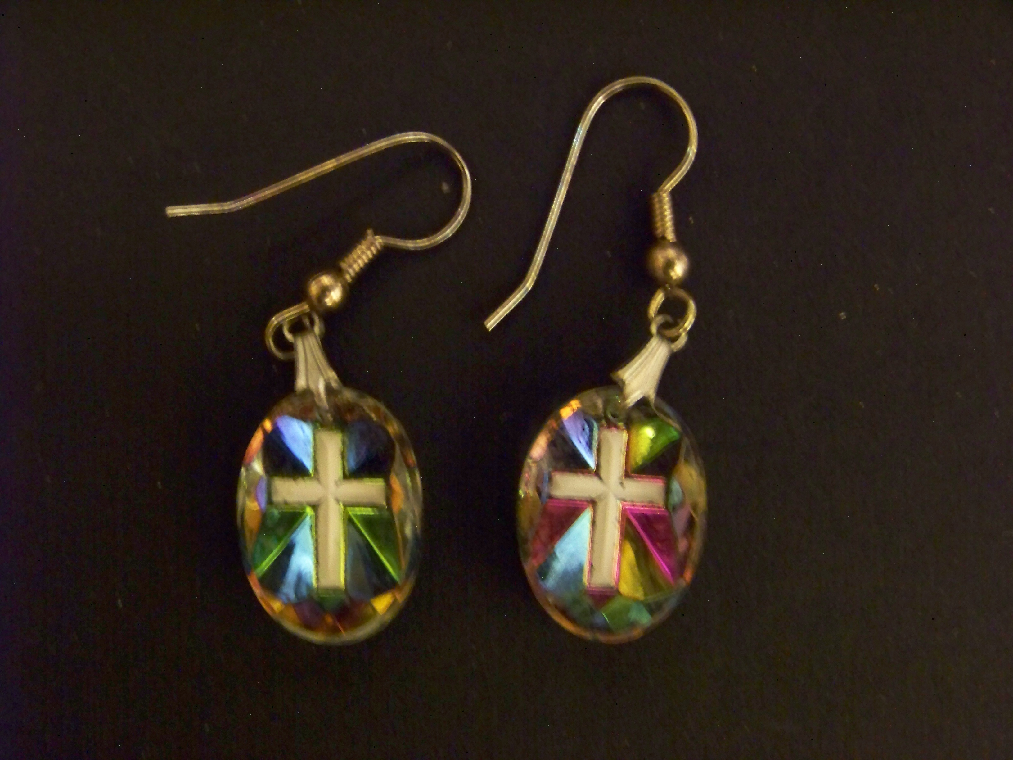 Crucifix Earrings with Aurora Borealis Effect c1950