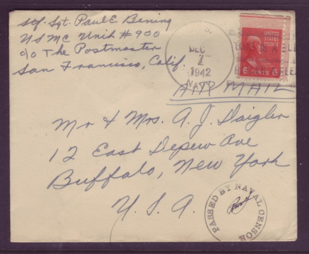 USA 1942 #811 6c Prexie Solo Use Navy Censor AIRMAIL Cover Sloga