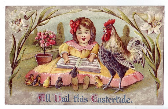 c1910 Easter PostCard w/ embossed Rooster Excellent