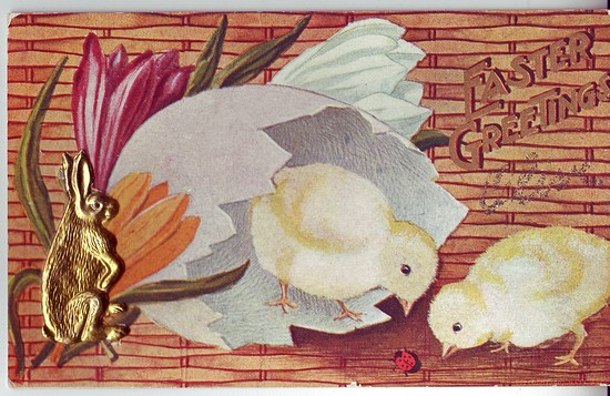 c1910 Easter Postcard w/ Rabbit made of stamped metal