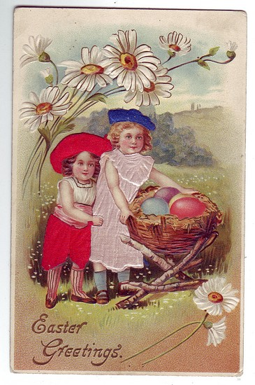 c1910 Easter PostCard w/ Silk used for Girl's Dresses Near Mint