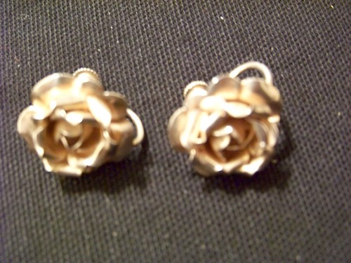 Antique Sterling Rose Earrings (screw backs)